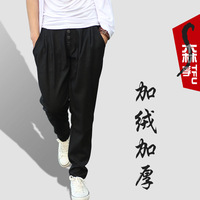Autumn and winter thickening plus velvet trousers woolen pants male harem pants trousers tapered pants casual pants male