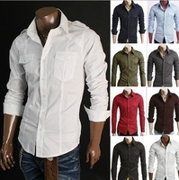 Men's 2014 new style fashion casual Badges Two pocket design long sleeve shirts 8 colors Wholesale and retail