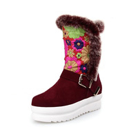 Free shipping boots for women 2013 fashion genuine leather flower luxury joker fox fur sleeve plush short boots winter boot,hot