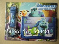 3pcs/lot Monsters University fashion kids children watch with wallet Purse Cartoon Wrist Sets Watches