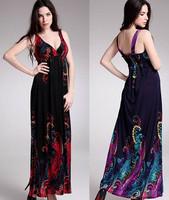 2014 new fashion big V -neck dresses bohemian beach dress maxi dress printed dress Draped women clothing drop shipping
