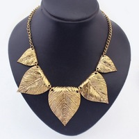 Hot 2014 New Fashion Punk Vintage Pattern Leaf-Shaped Metal Pendant Bib Necklace Jewelry Wholesale 6Pcs/lot Free Shipping#41