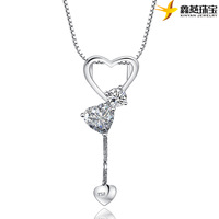2013 New 925 pure silver Sterling pendant necklace heart pattern love style free shipping dropship