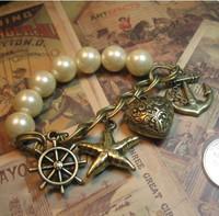 Fashion vintage pearl bracelet ocean b093  Free shipping