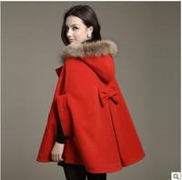Women Winter Coat 2013 Autumn and Winter woolen cloak wool coat overcoat fur collar cloak woolen outerwear cape 9056