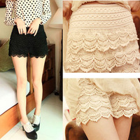 Women Cotton Lace Knitted Crochet Tiered Lace Shorts Short Pants Plus Size Elastic Waist Pants S M L