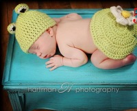 On Sale! Newborn Baby Clothing Set Photo Frog Crochet Wear Infant Photography Props Free Shipping