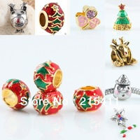 Crystal Enamel Christmas Xmas Santa Claus Snowman Tree European Beads Fit Bracelet