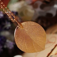 5pcs/lot Korean Style New Gold Plated Leaf Pendant Long Chain Necklace Leaves Necklace Free Shipping