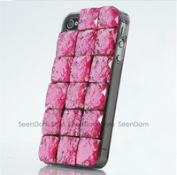 Shining Trend Ladies Case Handmade 3D Square Crystal Rhinestone Cover For iPhone 4 4S  PC063-4