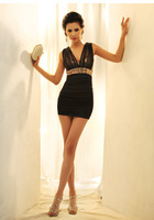 HOT! Spring Korean Fashion Slim waist was thin sexy sequined dress vest, skirt package hip dress,free shipping