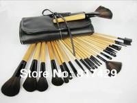 Wholesale Price Classical 24pcs Make up Brushes Set Burlywood Makeup Brush Kit Facial Makeup Tools +Black Leather Case