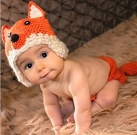 On Sale! Newborn Baby Accessories Hat and Clothing Set For Photo Infant Cute Fox Costume Photography Props Free Shipping