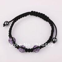 free shipping 2014  new fashion 10mm shamballa,bracelet 3pcs  jewelry high quality handmade bangles disco ball silver chain