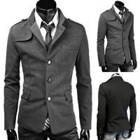 New Arrival Korean Stylish Mens Suits Business Formal Casual Slim stand collar single-breasted Winter Fit Coats Jackets #MA0045