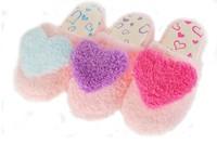 Women's Heart Design Coral Fleece Lovers Indoor Floor Slippers Sky Blue/Red/Purple  Free Shipping