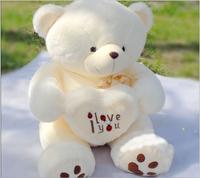 Birthday Valentines Gift Hold Heart  Lovers Babybear Wedding Plush Toy High Quality White Teddy Bear Baby Toy Doll Size 50cm