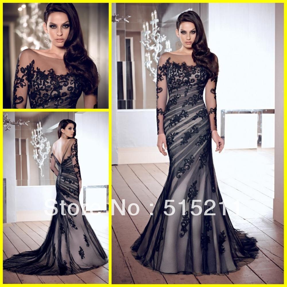modesto mangas largas de atrás abierta de tul de baile sirena vestido de noche vestidos para la madre de la novia 2014 caliente de la venta