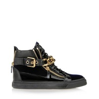Free shipping !  giuseppe new shoes leather zipper high- top women / men leisure gold chain sneakers shoes