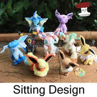 """Free shipping 9pcs/lot Pokemon Plush Toys 7"""" Sitting Umbreon Eevee Espeon Jolteon Vaporeon Flareon Glaceon Leafeon Sylveon Doll"""