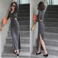Retro Korean Women Faux Two-piece Dress Side Split Slim Long Maxi Dress Free shipping & Drop shipping
