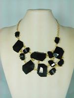 2014 new spring fashion lady black acrylic stone necklace jewelry