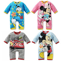 Free Shipping Children Wear Kid's micky minnie duck car printing Long Sleeve Baby Romper