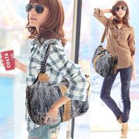 2013 knitted denim bags women's handbag vintage casual big bag women's handbag one shoulder cross-body