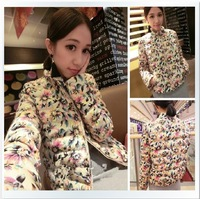 2013 winter cotton-padded jacket sweet elegant flower print fashion outerwear wadded jacket