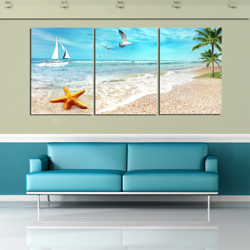 Large Beach Canvas Seascapes Palm Tree Paintings 3 Piece Wall Art