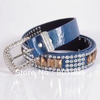 New Cowgirl Western Womens Rhinestone Fx Leather Belt
