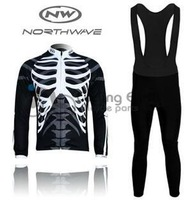 Free shipping!!! NW northwave 2012 Winter long sleeve cycling jersey+bib pants bike bicycle thermal fleeced wear+Plush fabric!