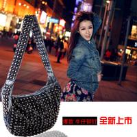 2013 women's handbag fashion punk travel one shoulder cross-body rivet denim bags