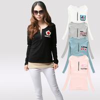 2013 autumn women's slim o-neck zipper embroidery embroidered t-shirt basic women's long-sleeve shirt