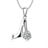 Jewelry necklace fashion 2013 creative high heel pendant with rhinrstone 925 silver nacklace dropship hot sale