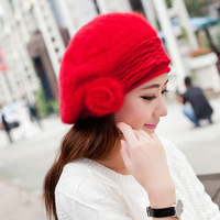 2014 New Fashion !  Ladies fashion rabbit hair beret,Spring and winter warm hat, Lady Rabbit hair knitted cap+8 colors