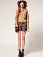 Fashion Vintage Shirt Top Faux Suede Patchwork Causal Elegant Blouse Shirt Women's  Free shipping