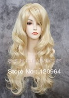 Cos Harajuku Natural Kanekalon wig wave Full Volume Sleeping Beauty Princess Aurora Costume Cosplay Party Blonde Wig