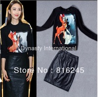 Free shipping hot selling Fashion outfit Deer Bambi printed sweatshirt leather look skirt wrap skirt