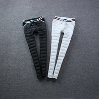 2013 elastic waist pocket bow yarn down pants trousers