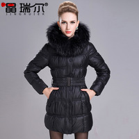 2013 winter wadded jacket large fur collar slim medium-long down cotton-padded jacket 7712