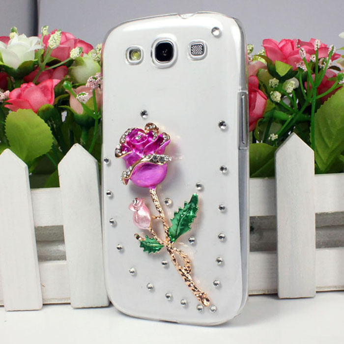 Clear Diamond Crystal Rose Hard Back Case Cover For Samsung GALAXY S3 i9300 Hot Freeshipping&wholesale(China (Mainland))