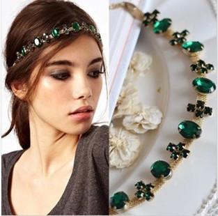 2014 New Fashion Hair Jewelry Green Glass Stone Gold Chain Headbands For Women Headwear Hair Accessories(China (Mainland))