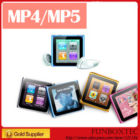 1.8 inch screen 8GB 6th gen digital Clip MP3 MP4 Player with FM/E-book Support 1-16GB Micro memory card+earphone+usb+gift box