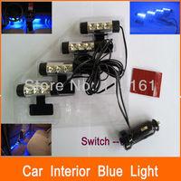 12V Car Daytime Lights Blue Color Interior Pathway Light Auto Car LED Lamp Interior Lighting with cigarette lighter