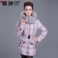 2013 fashion thickening slim medium-long large fur collar female cotton-padded jacket down female 7920