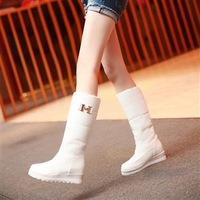 New  2013 White snow boots waterproof winter boots high-leg boots flat heel slip-resistant shoes woman