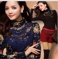 NEW ! Women lace shirt  long sleeve turtleneck thin render unlined upper garment Free Shipping M/L/XL/XXL