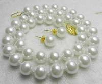 "Charming! AAA 10mm White Sea South Shell Pearl Necklace 18"" Earring MY2000"