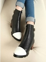 2013 autumn and winter fashion color block decoration platform thick heel lacing martin boots fashion medium-leg high-heeled